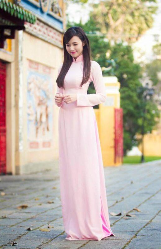 Ao Dai Vietnam Link Pink