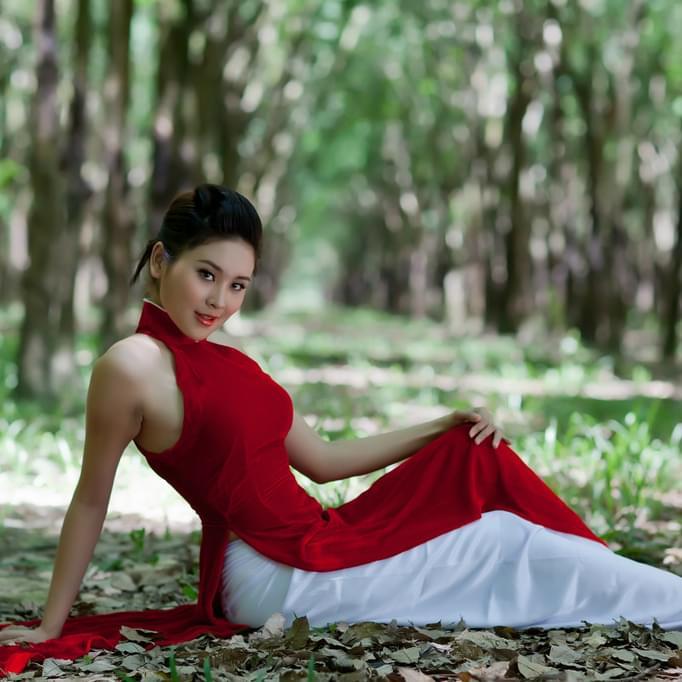 Velvet-Fabric-Red-White-Ao-Dai