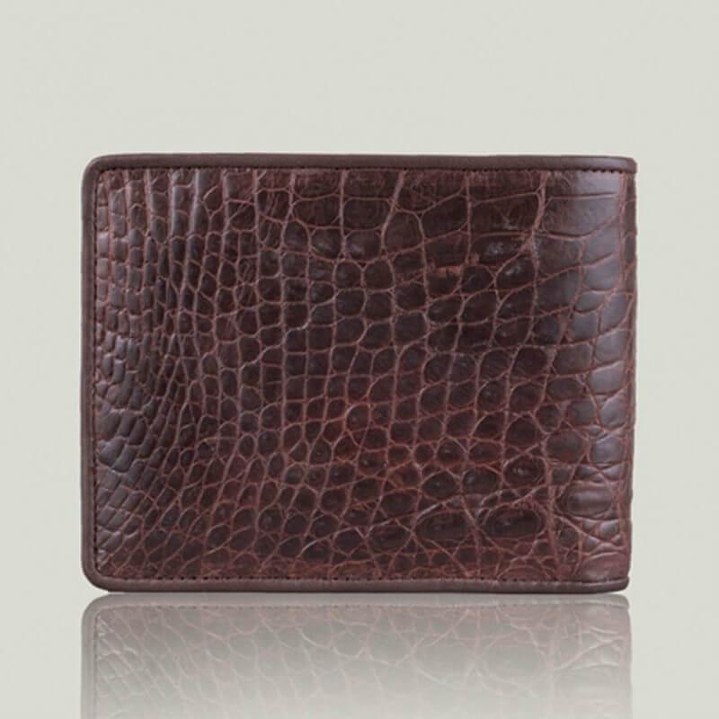 Genuine Crocodile Leather Men Bifold Brown Belly Skin Alligator Wallet Handmade