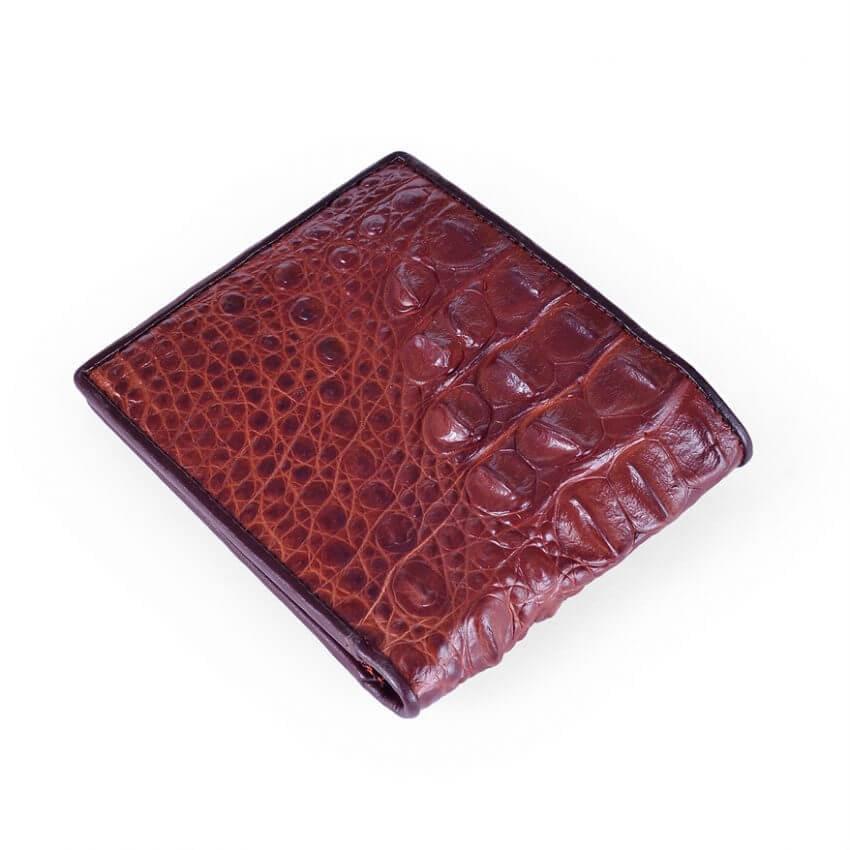 Crocodile Back Skin Leather Men Wallet Brown Copper