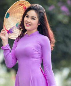 Ao Dai Chiffon Double Layers Magenta Purple