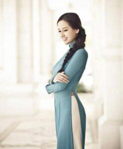 Blue Ao Dai Vietnam Long Sleeves