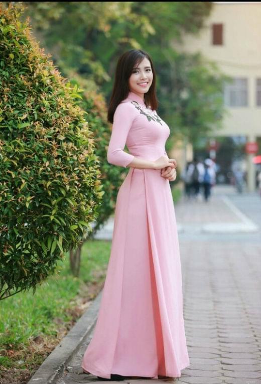 266d6a251 Vietnam Ao Dai Pink Silk Floral Neck Decoration