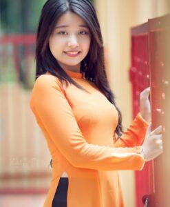vietnam-long-dress-ao-dai-orange-chiffon-black-satin
