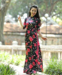Vietnam-ao-dai-custom-made-black-and-pink-floral-rose-deco