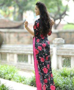 ao-dai-custom-made-black-and-pink-floral-rose