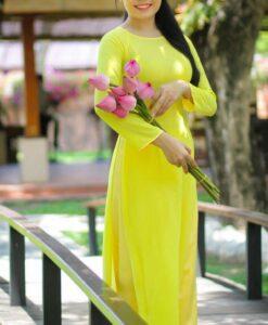ao-dai-dress-yellow-canary-chiffon-satin