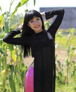 Ao Dai For Sales Black Sheer Dress Pink Satin Pant