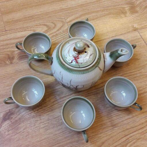 Bat Trang Ceramic Tea Sets Eel Skin Glaze