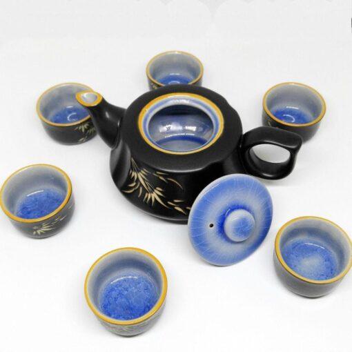 Bat Trang Handmade Tea Set Purple Cracked Glaze