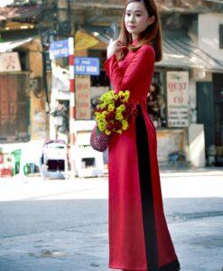 buy-vietnam-ao-dai-red-silk-dress-black-satin-pant