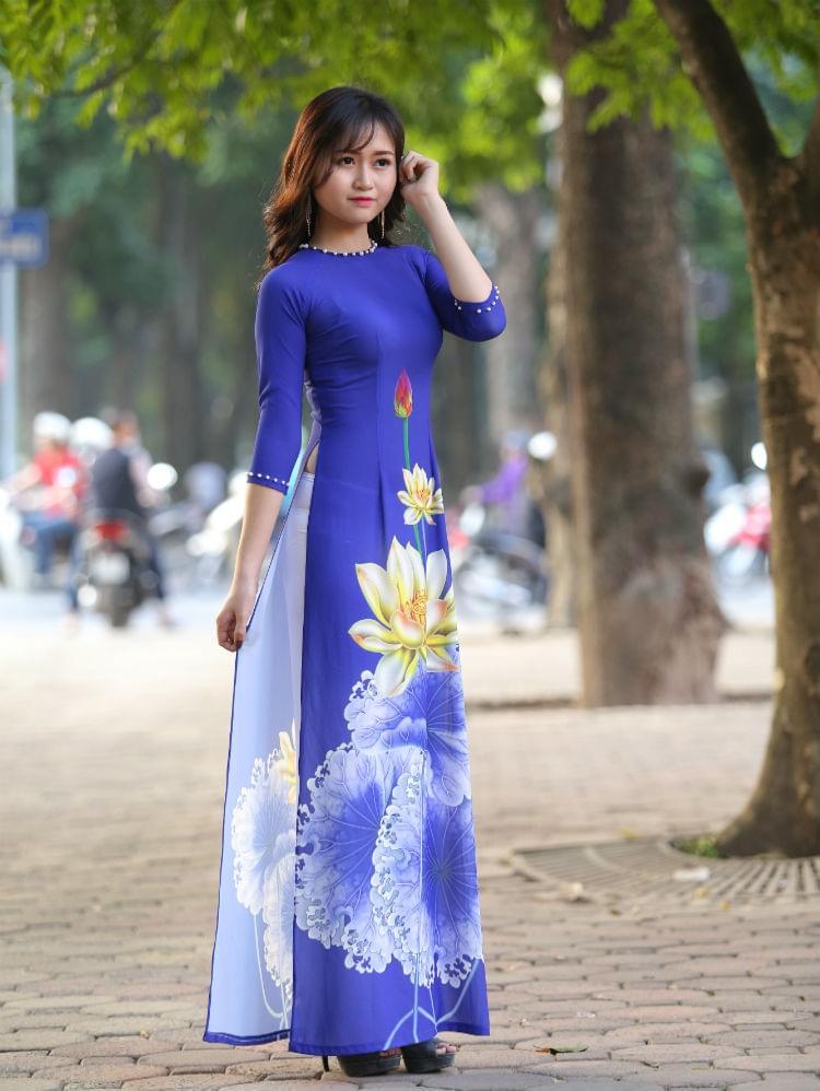 Blue White Ao Dai Vietnam Custom Made Silk Satin