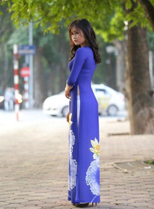 Ao Dai Modern Vietnam Royal Blue 3D 3