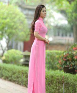 Ao Dai Viet Nam Pink Chiffon2