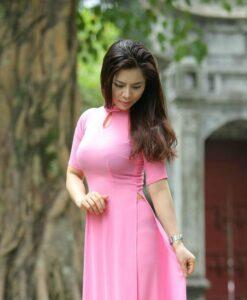 Ao Dai Viet Nam Pink Chiffon