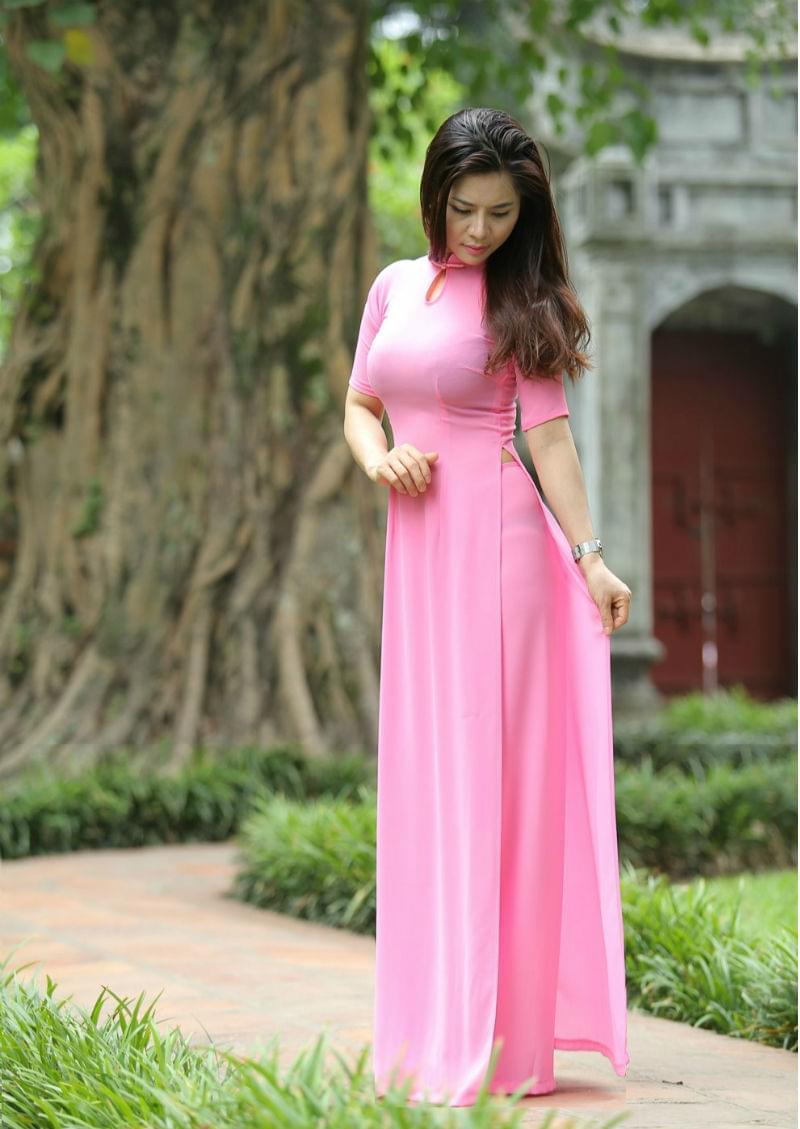 Vietnamese Ao Dai Silk Double Layers Magenta Purple