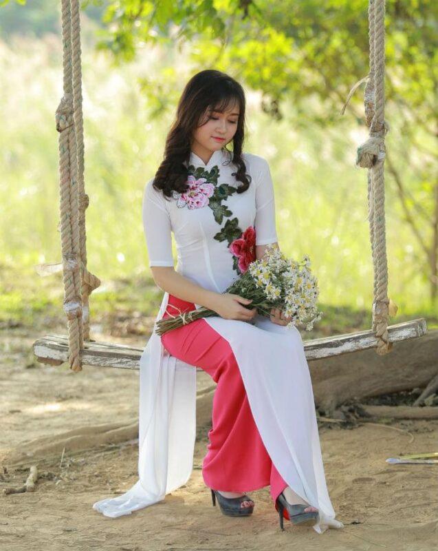 cf6cdac41 Ao Dai White Chiffon Floral Decoration Pink Silk Pant