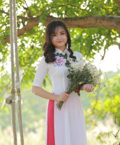 Ao Dai White Chiffon Floral Decoration