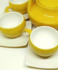 Bat Trang Handmade Tea Set Yellow White Plain Glaze