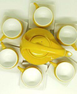 Bat Trang Handmade Tea Set Yellow White Plain Glaze 3