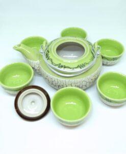 Bat Trang Round Tea Set Pottery Green 3