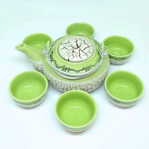Bat Trang Round Tea Set Pottery Green