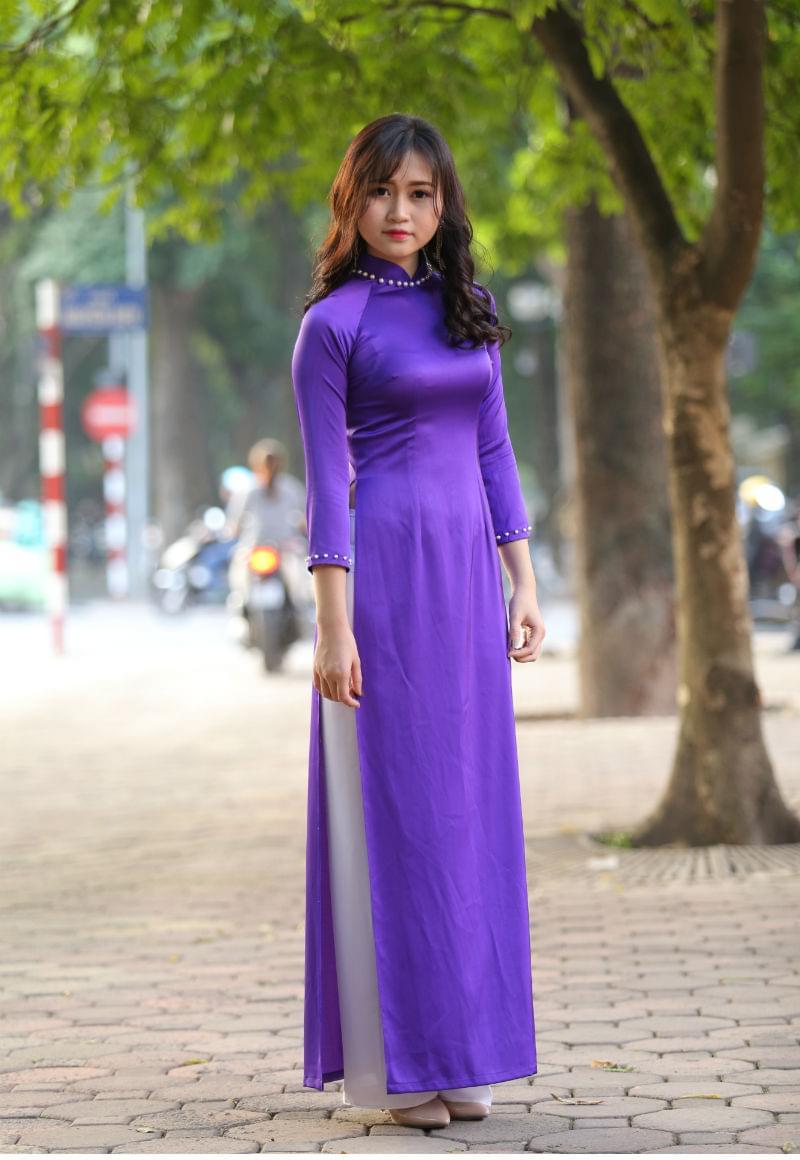 Ao Dai Vietnam Custom Made Shop Light Blue, White