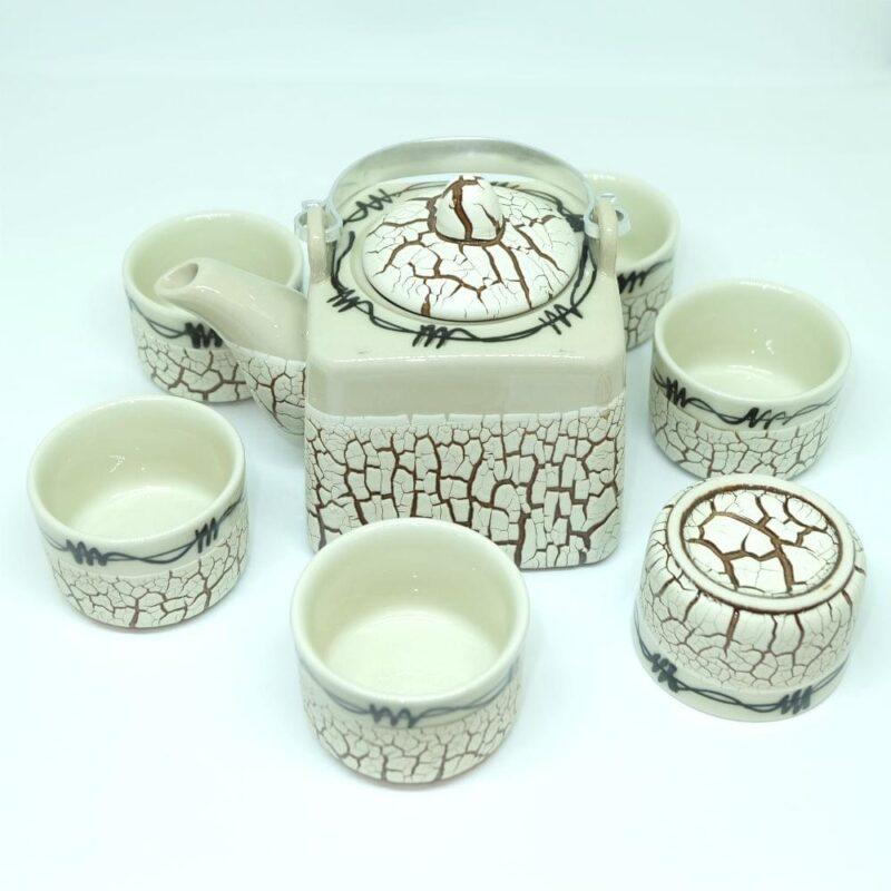 Handmade Bat Trang Pottery Tea Set Crack Glaze 3