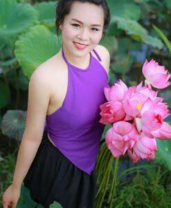 Light Violet Traditional Vietnam Ao Yem