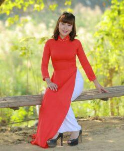 Red Ao Dai Vietnam 3/4 Sleeves 3