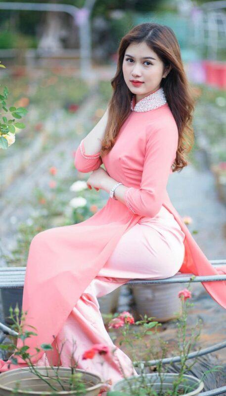 Soft Pink Silk Ao Dai Vietnam 2