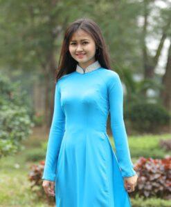 Turquoise Silk Ao Dai Vietnam