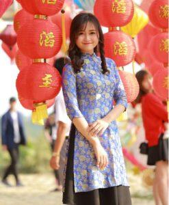 Van Phuc Floral Natural Silkworm Ao Dai