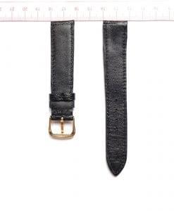 Black Ostrich Leather Wristwatch Strap Size 18mm 2