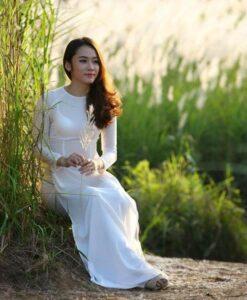Chiffon White Ao Dai Vietnam Round Neck 2