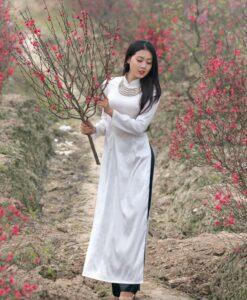 Vietnam Ao Dai Silk Black White 2