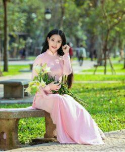 Carnationpink chiffon Ao Dai Viet Nam