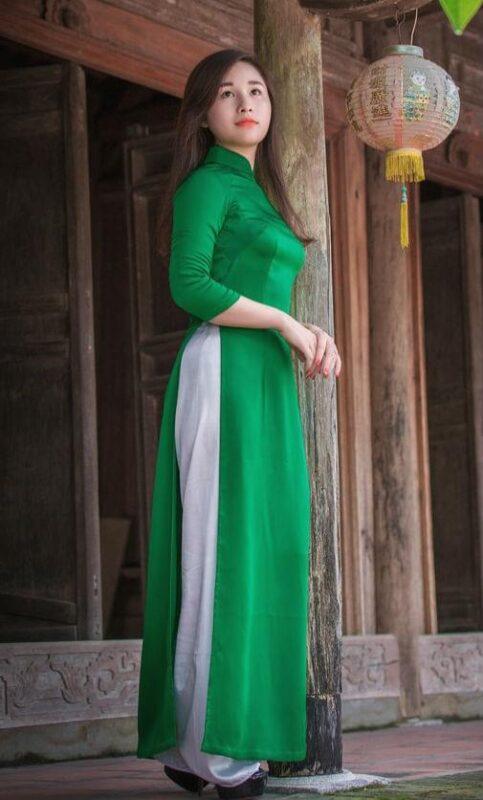 Light Green Viet Nam Ao Dai Tailor Made White Pant