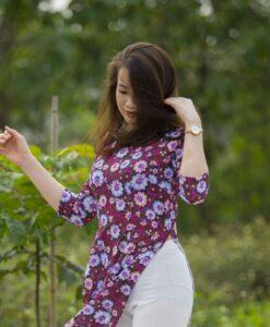 New Traditional Floral Ao Dai Vietnam