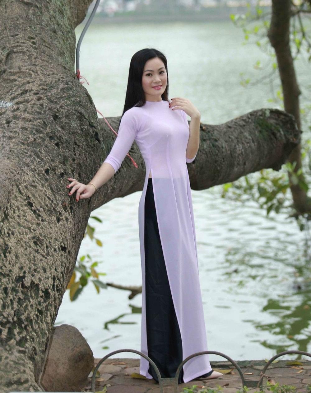 Buy Ao Dai Vietnam Custom Made Purple Blue Silk