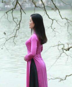 Vietnam Ao Dai Classical Pink Silk