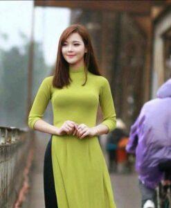 Lime Pie Chiffon Ao Dai Vietnam