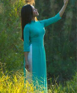 Mint Silk Ao Dai Vietnam Long Dress 1