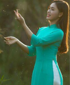 Mint Silk Ao Dai Vietnam Long Dress