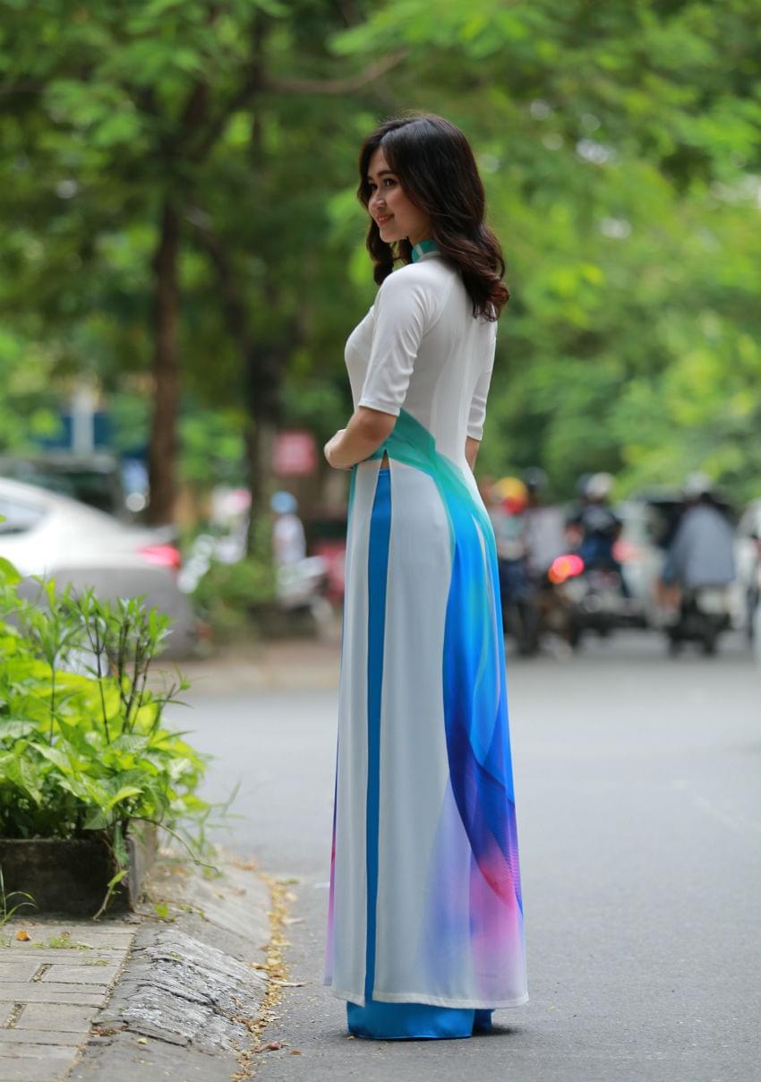 Ao Dai Vietnam White Chiffon Black Silk Pant