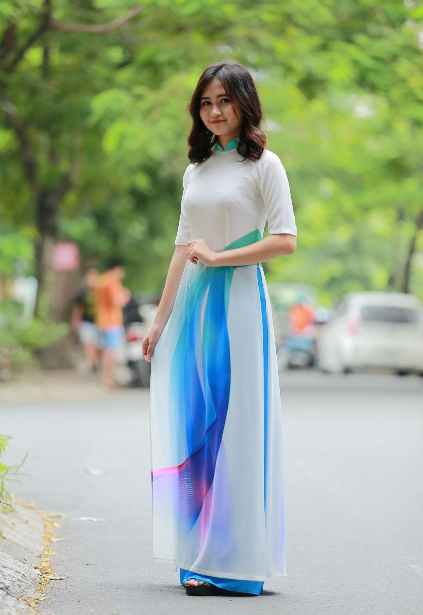 Turquoise Silk Ao Dai Vietnam Neck Decoration