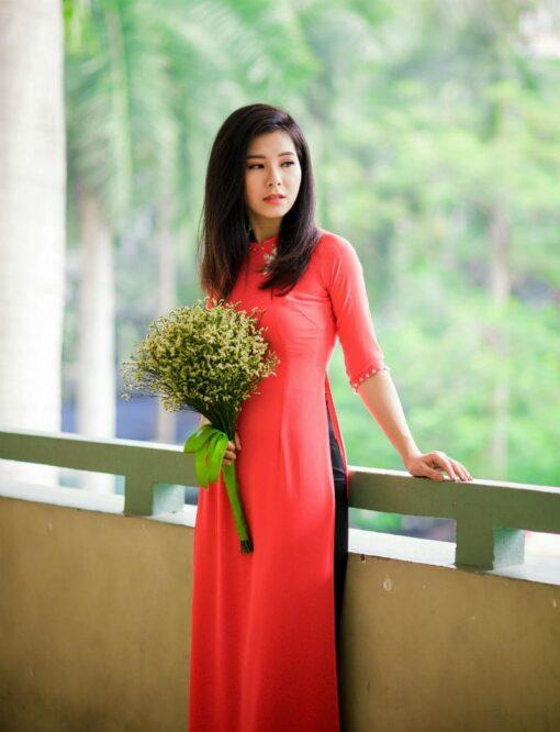 Viet Nam Ao Dai Orange Red Silk 1