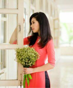 Viet Nam Ao Dai Orange Red Silk