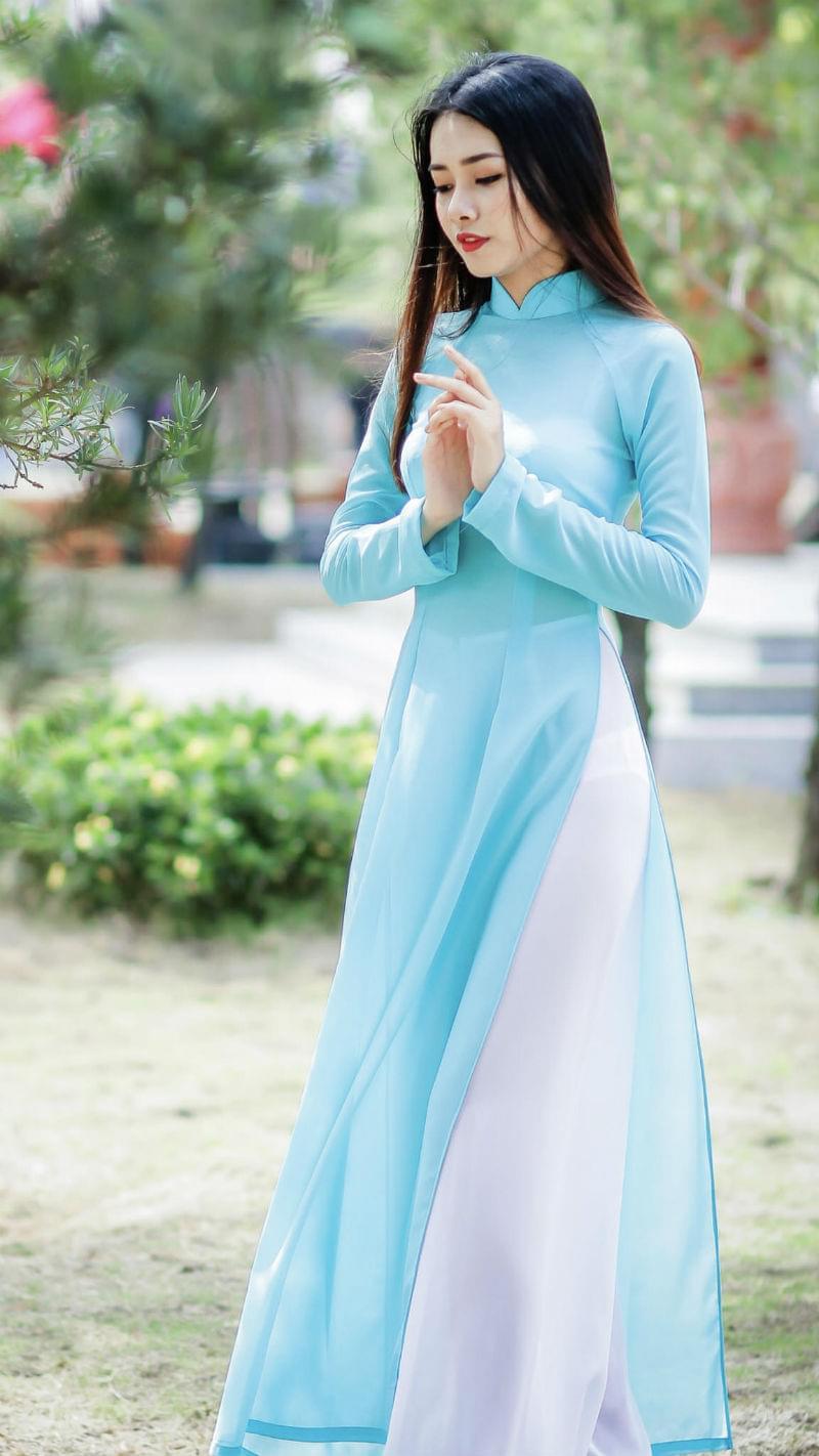 Ao Dai Vietnam Online Free Ship Baby Blue