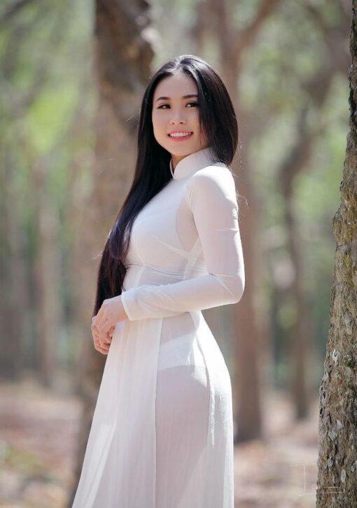 Ao Dai Vietnam Sexy White